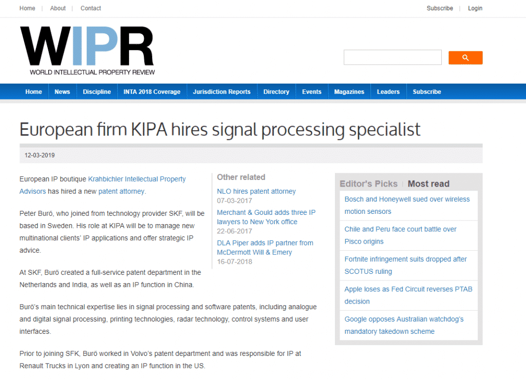 "Media mentions for Press release: ""European firm KIPA hires signal processing specialist"""