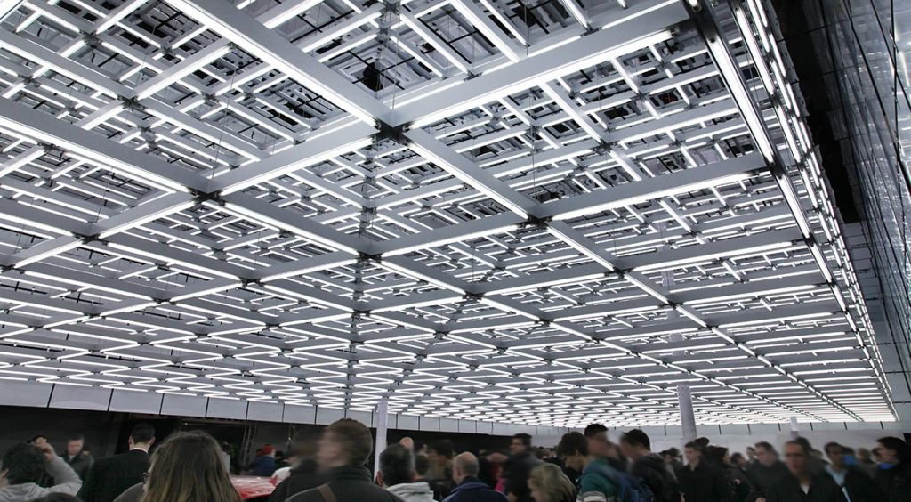 light rods exhibition squares roof audi